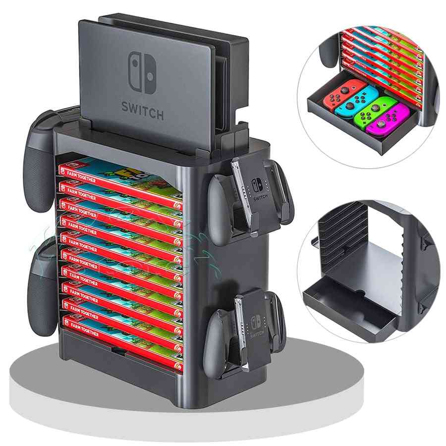 Nintendos Nintend Switch Console Accessories For Case Storage Stand, Game Cd Disc Joycon Pro Controller Holder Tower
