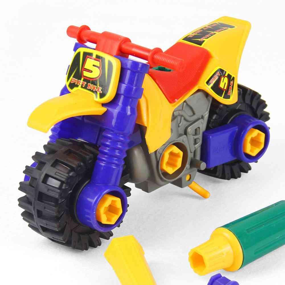 Kids Diy Motorcycle Motorbike Nuts Model Educational Toy With Screwdrivers