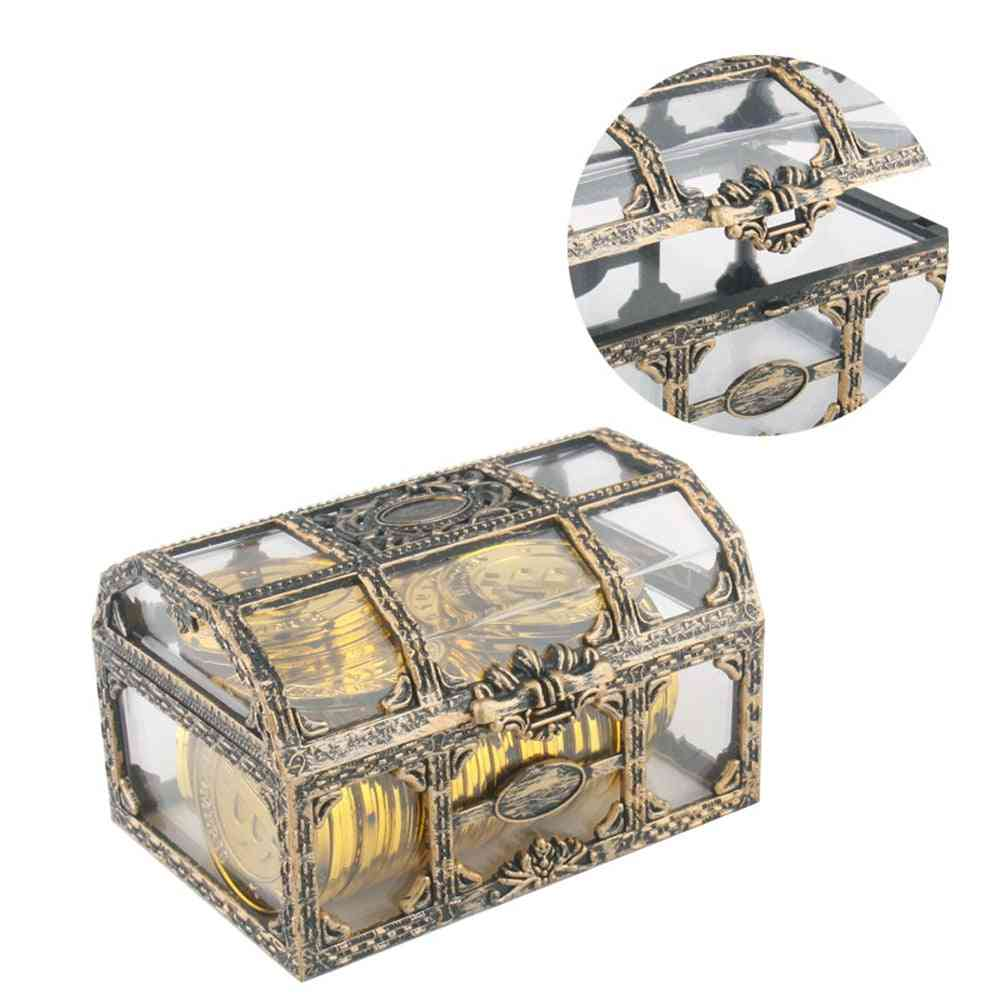 Pirate Treasure Chest Plastic Container Gold Box Kids For Pirate Crystal Gem Toy Figures