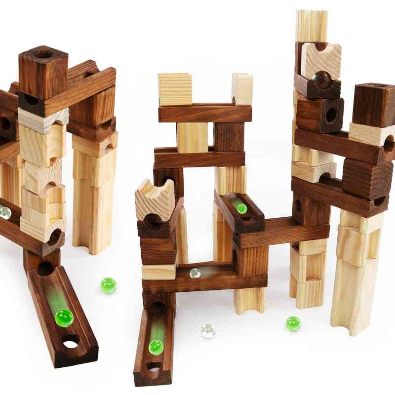 Children Wooden Marble Runs Block Toy With Glass Beads, Kids Building Construction