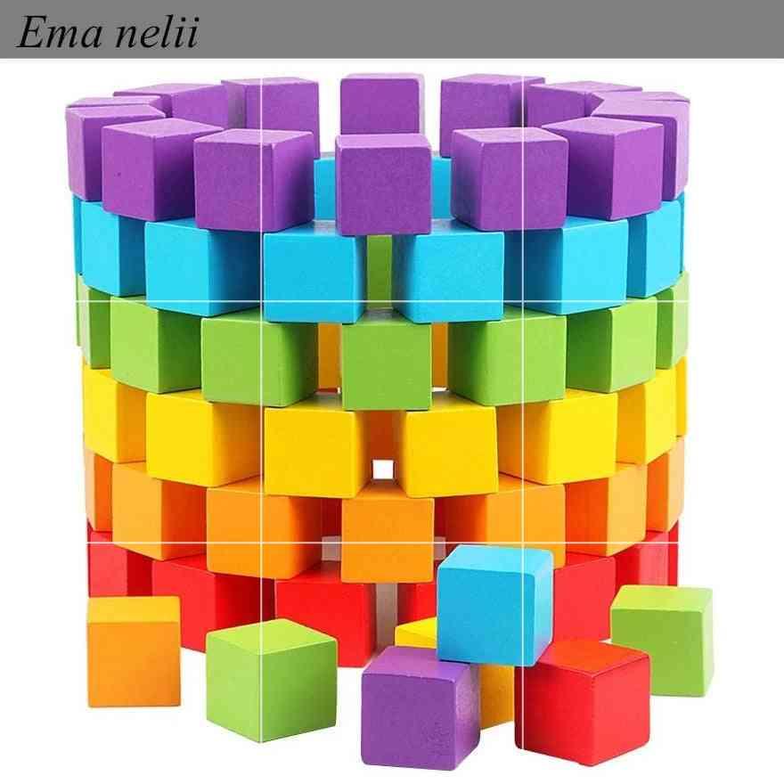 Children Geometric Shape Colorful Wood Squares  Building Blocks (100pcs Mix Colors)