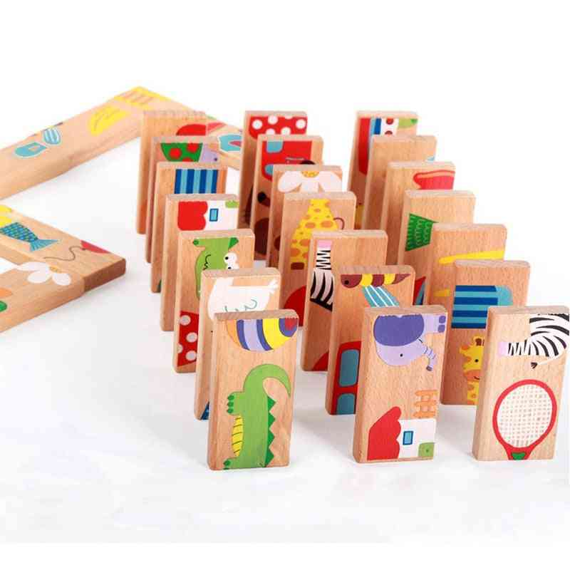 Wooden Domino Fruit Animal Recognition Heap Tower Puzzle Toy