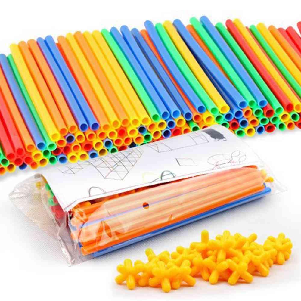 4d Straw, Plastic Stitching Inserted Construction Blocks Toy