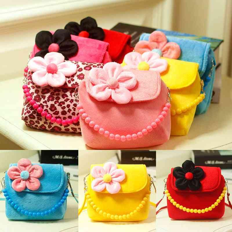 Lovely Kids 3d Flower Mini Zipper Shoulder Messenger, Leopard Candy Color Coin Purses