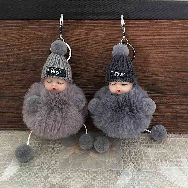 Cute Cartoon, Sleeping Fur Doll Keychain Handbag, Car Keys, Pendant Or For Kids