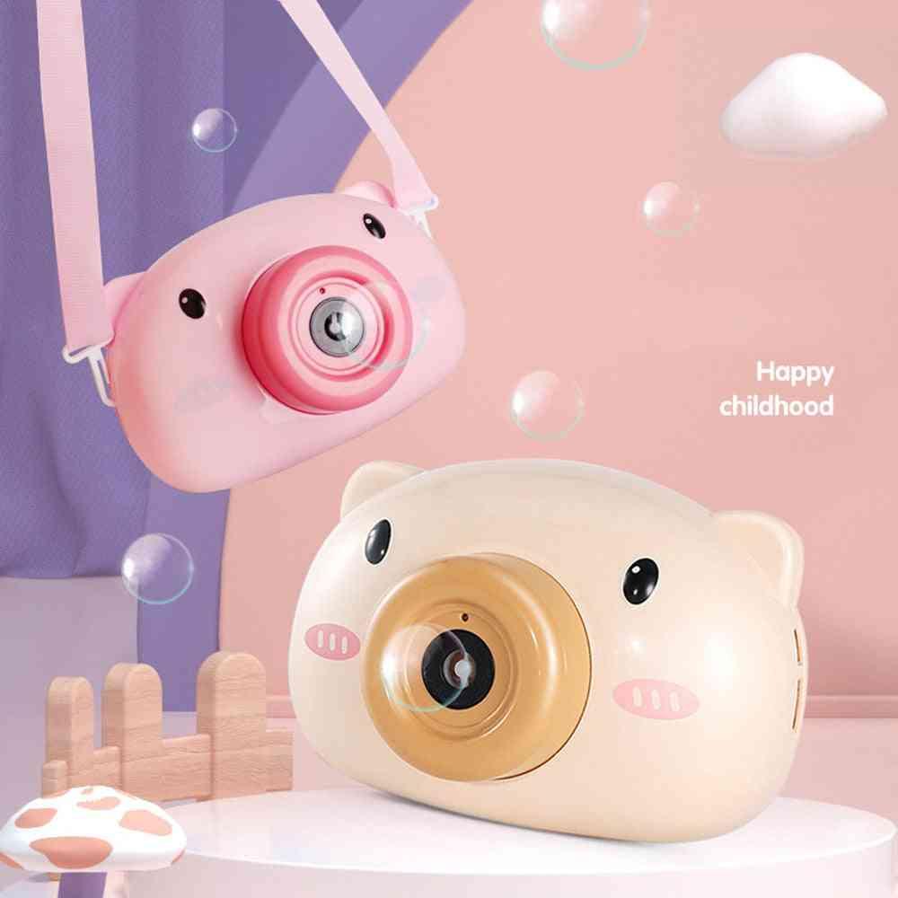 Cute Cartoon Pig Camera Bubble Machine Kids - Giocattoli Bambini Baby Music Outdoor Automatic Bubble Maker