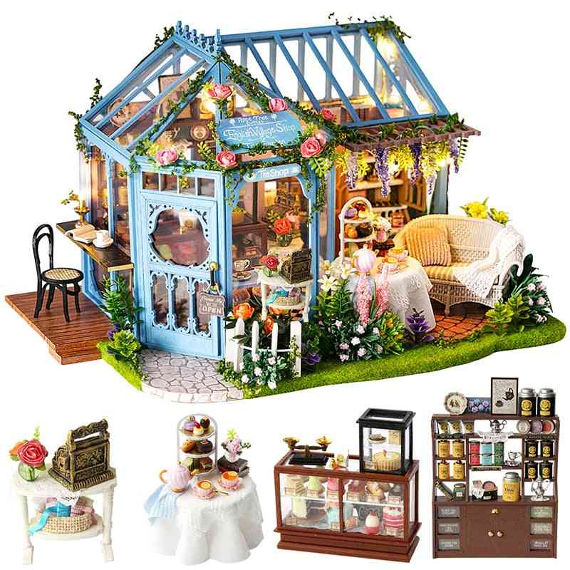 Diy House Miniature With Furniture Led Music Dust Cover Model Building Blocks For