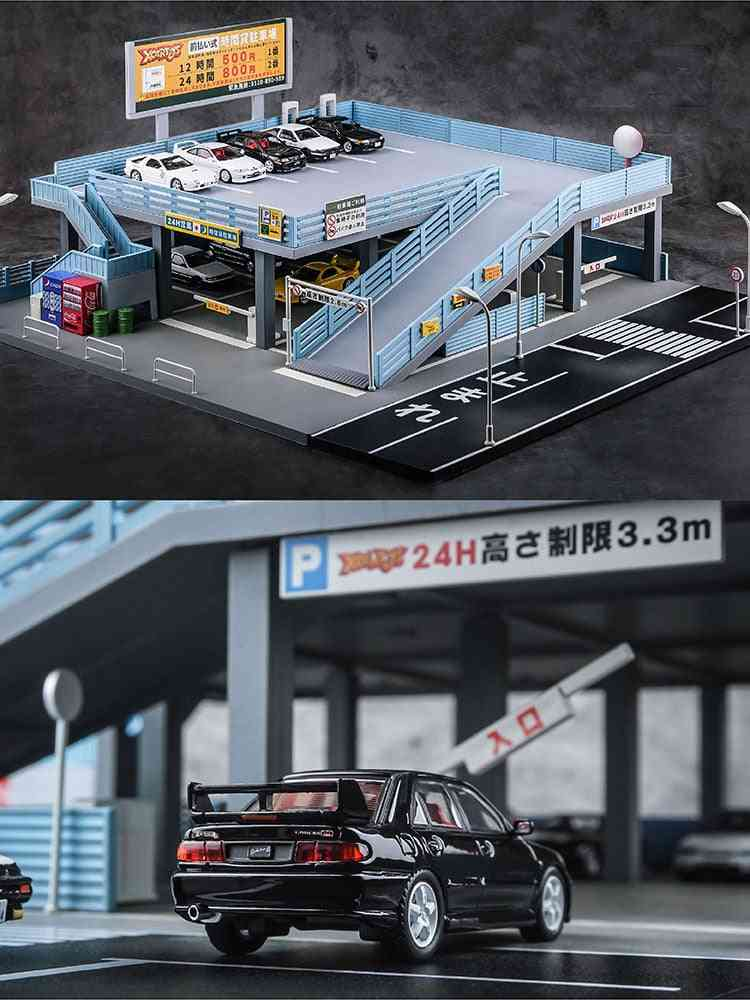 1/64 Miniature Model, Japanese Style Model Car Toy Scene  Street-view Double Garage Parking Lot Toy Gift Box