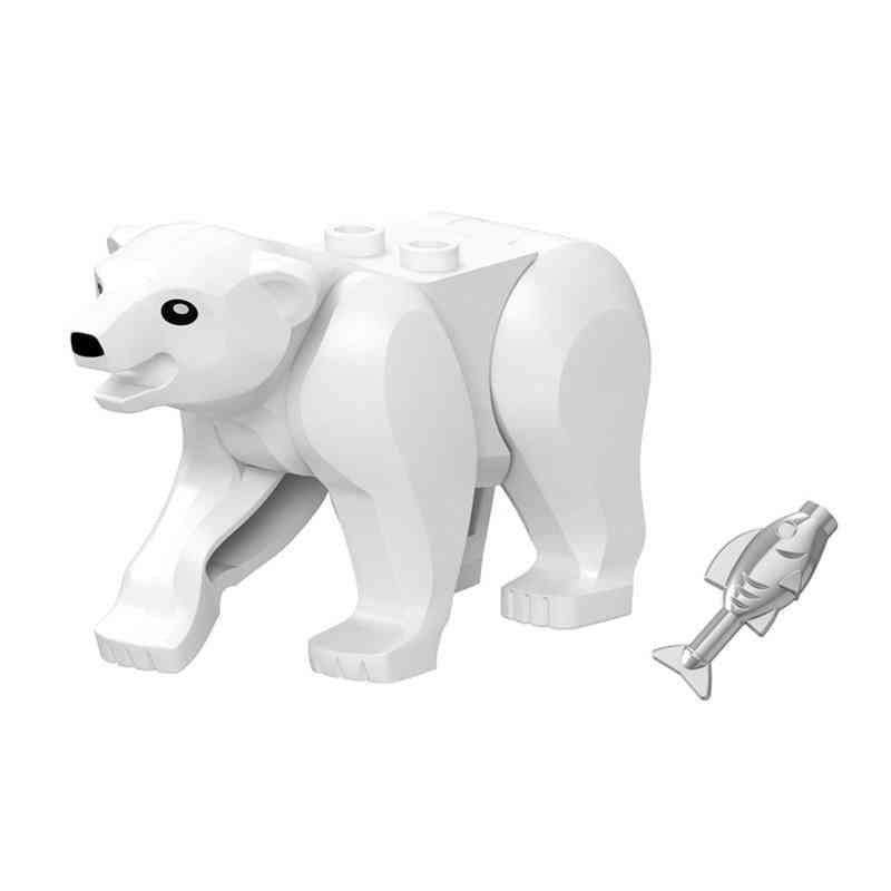 Locking Animals Tiger, Leopard, Elephant, Wolf, Chimpanzee Shark, Polar Bear And Whale Blocks