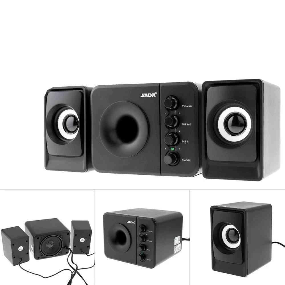 D-205 3d Stereo Subwoofer, Bass Pc Speaker, Portable Music Dj Usb For Computer Speakers, Laptop Tv