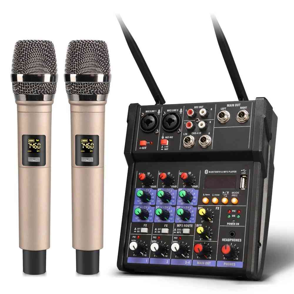 4 Channel Audio Mixer Console - Wireless Microphone And Sound Mixing With Bluetooth