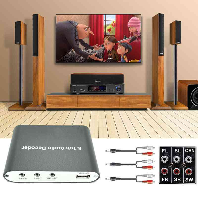 Digital 5.1 Eu Audio Decoder Dolby Dts/ac-3 Optical To 5.1 Channel Rca Analog Converter