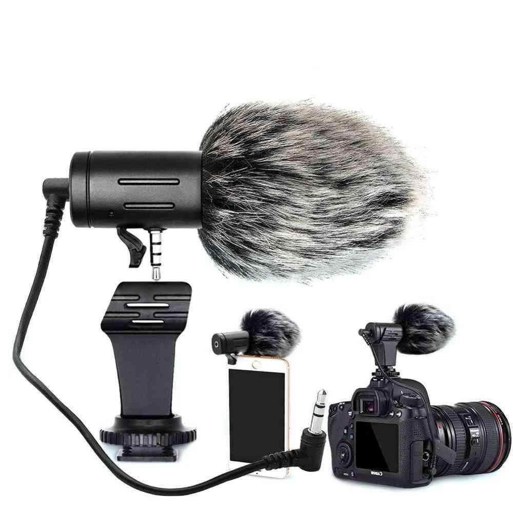 Microphone Mini Portable 3.5mm Condenser - Video Camera With Muff