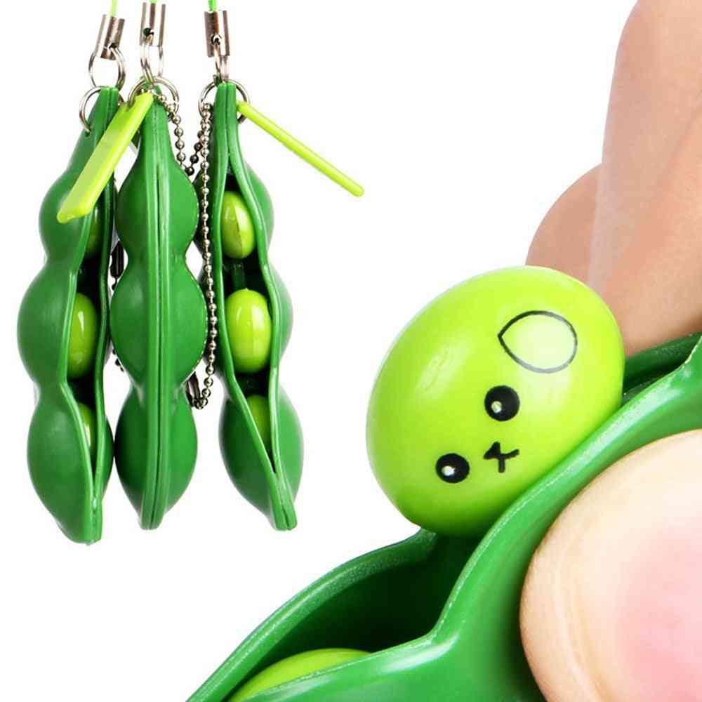 Pea Bean Squeeze, Stress Relieve Cute Key Chain Toy