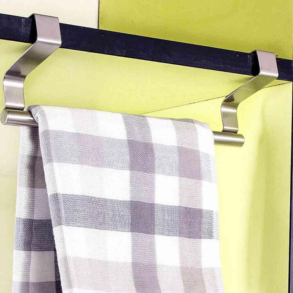 Over Door Towel Rack Bar - Hanging Holder For Bathroom / Kitchen