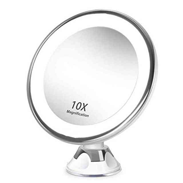 Led Lighted, Magnifying Makeup Mirror With Suction Cup - 360 Degree Rotating