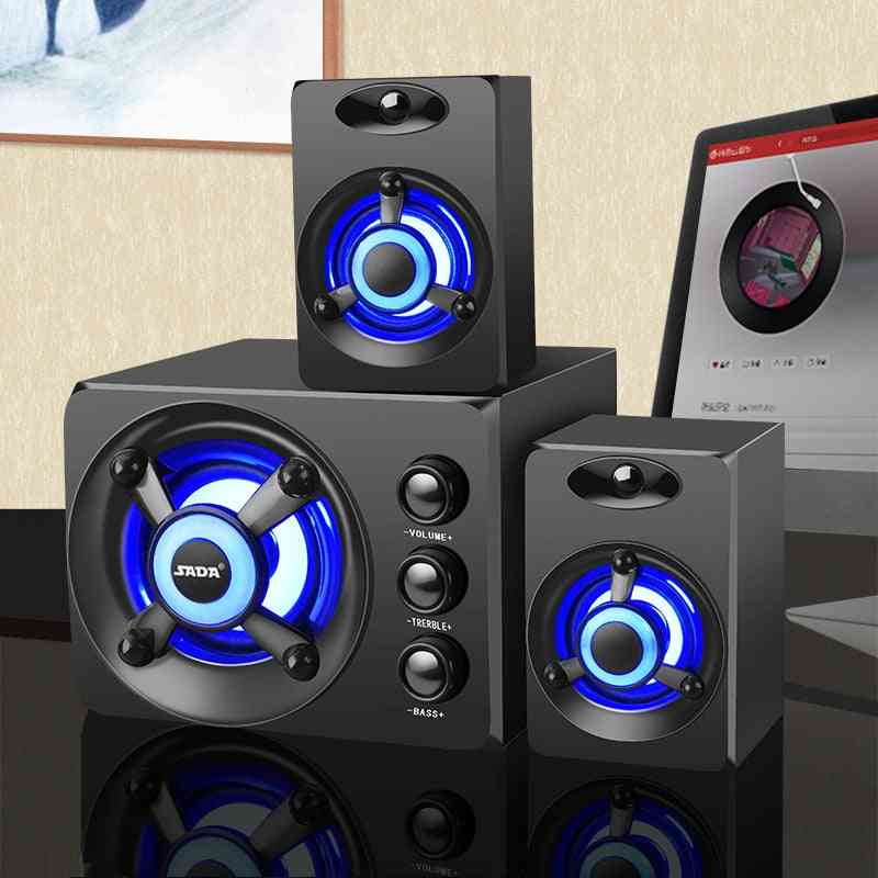 3d Stereo Subwoofer Bass, Pc Speaker Portable Music, Usb Computer Speakers For Laptop, Tv, Home Speakers, Led Speaker