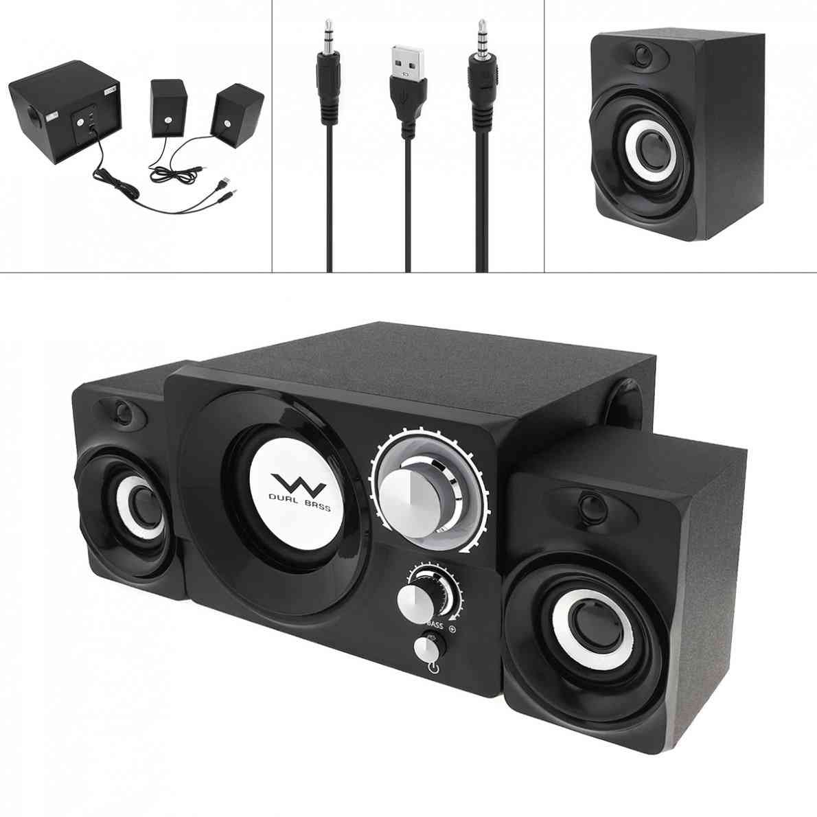 Mini 3w Wooden -subwoofer Portable Music Usb And  Computer Speaker