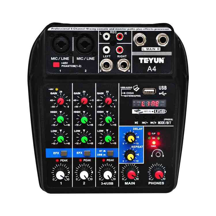 Sound Mixing Console Record 48v Phantom Power Monitor, Aux Paths Plus Effects, 4 Channels Audio Mixer With Usb