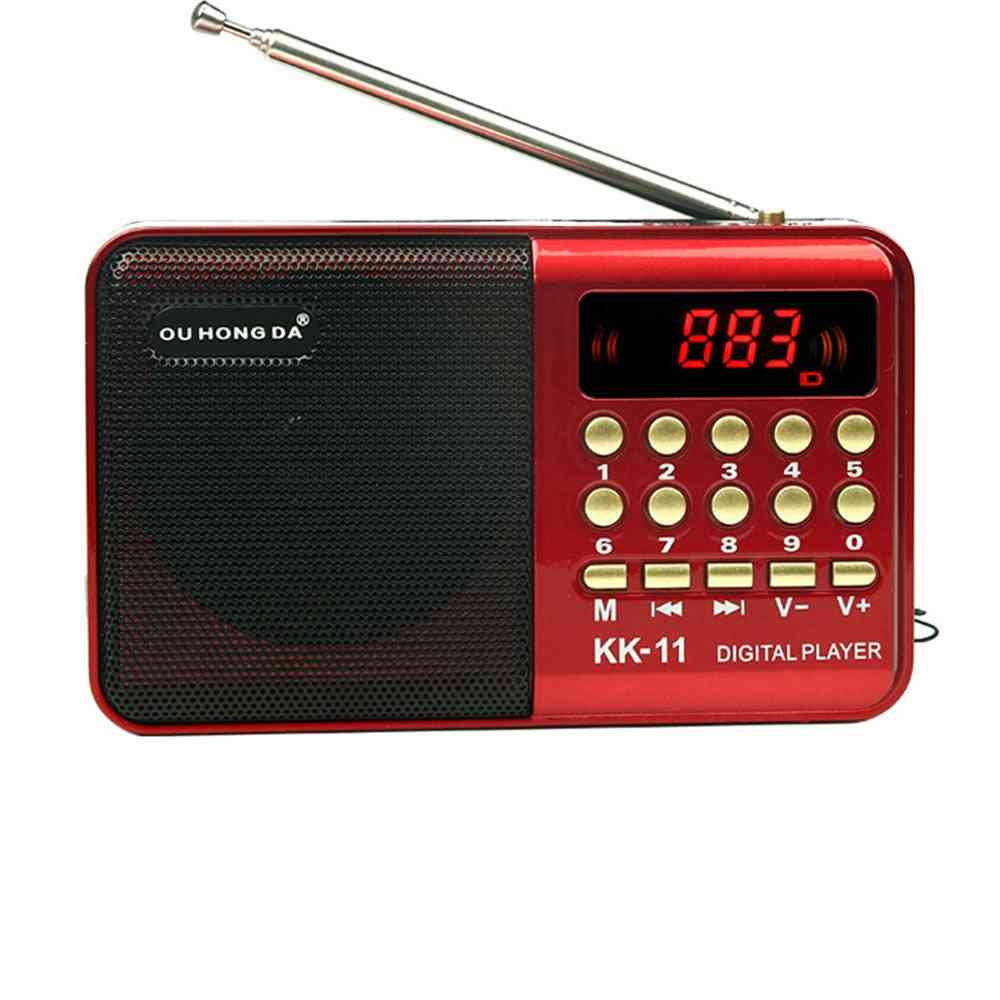 Digital Radio Speaker Mini Fm Radio Usb Tf Mp3 Music Player Telescopic Antenna Handsfree Pockets Receiver