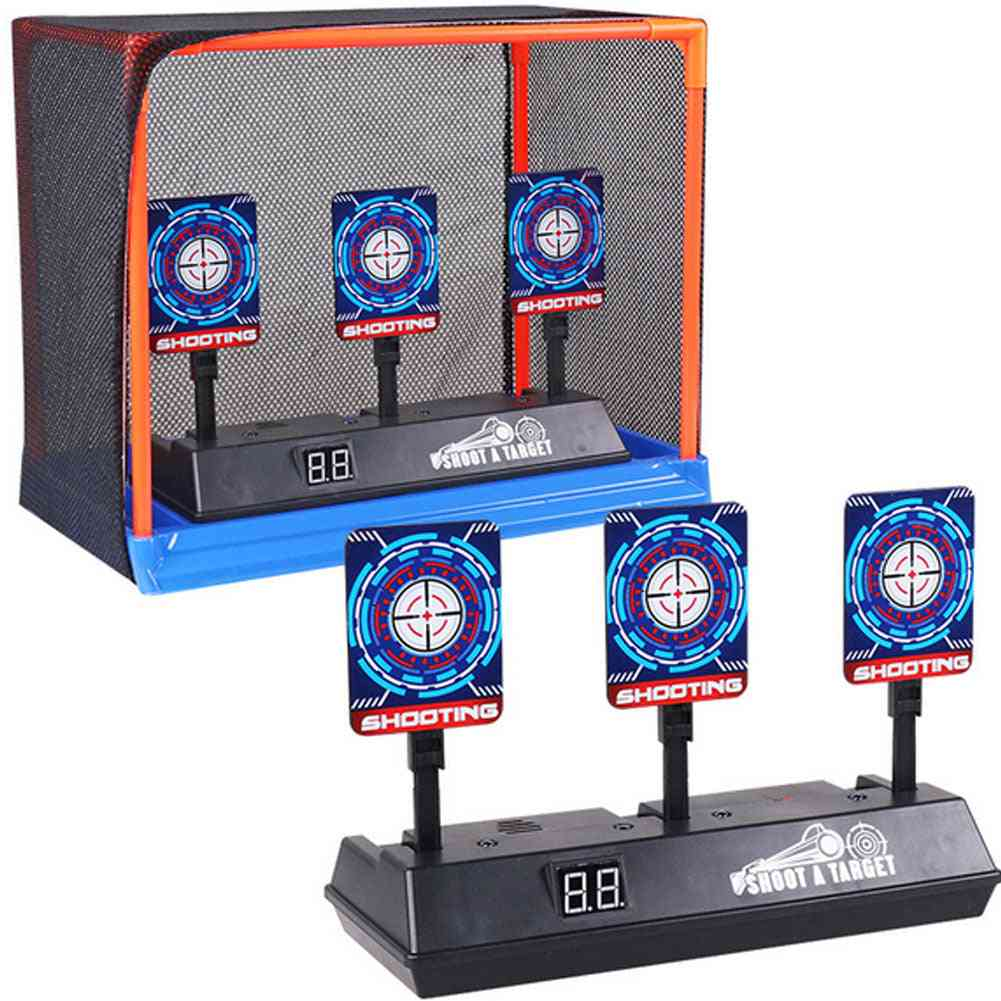 Children Running Shooting Targets With Net Frame - Electronic Scoring Auto Reset Digital Targets Toy