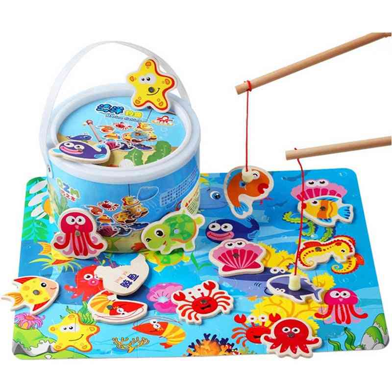 Toddler Baby Educational Puzzle Toy, Wooden Magnetic Fishing Game Set