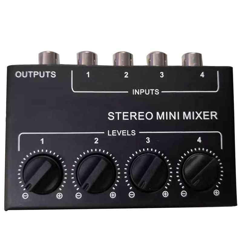 Mini Stereo Rca 4-channel Passive Mixer Small Stereo Dispenser For Live And Studio