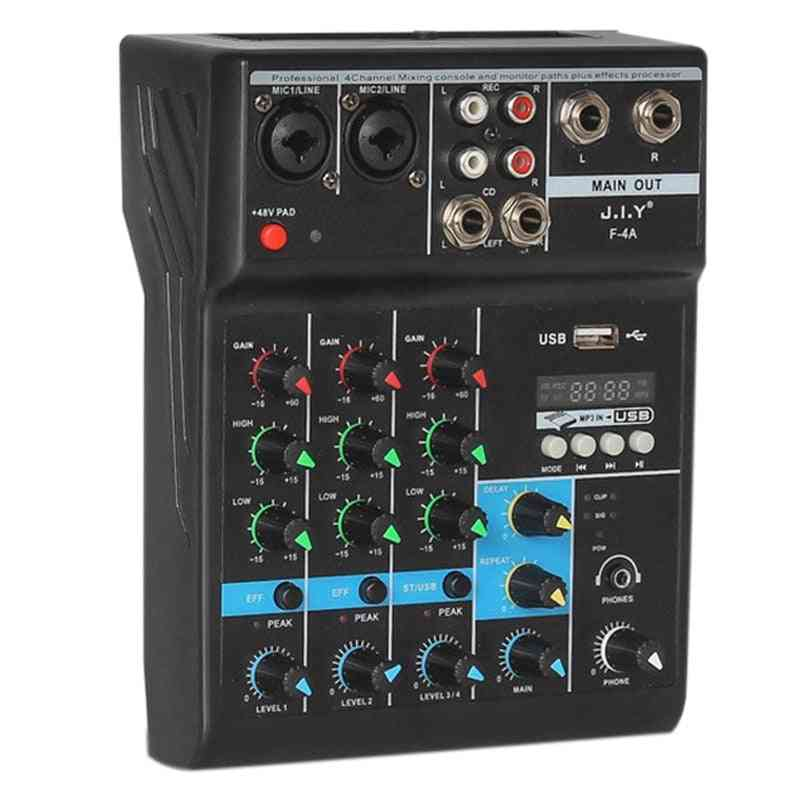 Professional 4 Channel Bluetooth Mixing Dj Console With Reverb Effect