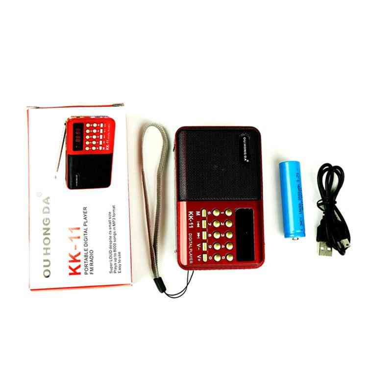 K11 Fm Rechargeable Mini Portable Radio, Handheld Digital Usb Tf Mp3 Player
