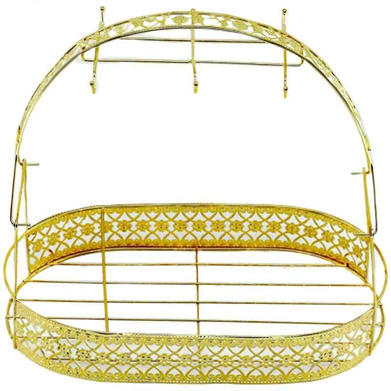 Large Capacity Gold Storage Rack, Plating Coffee Cup Hob Dish, Metal Stand Holder