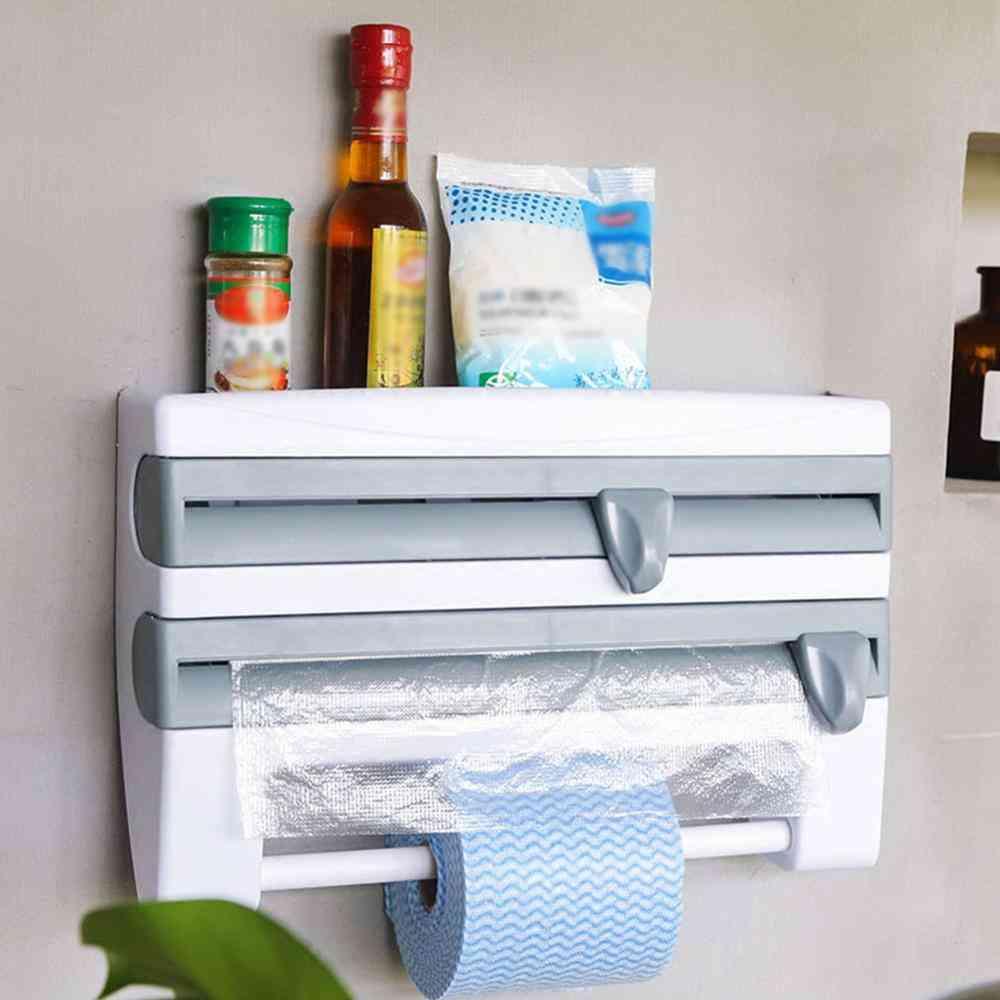 Wall Mount Paper Towel Holder - Preservative Film Dispenser Storage Box
