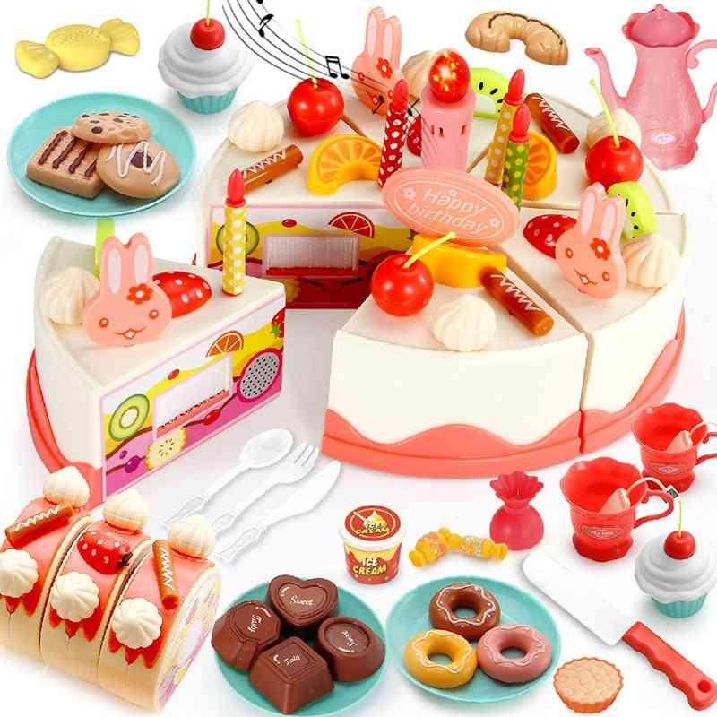 Diy Birthday Cake, Kitchen Food Set-pretend Play Cutting For Kid