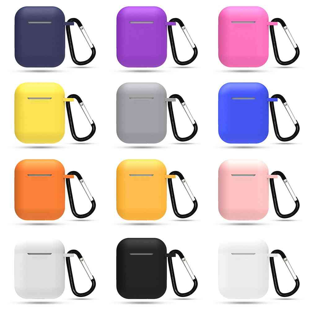 Silicone Thin Headphone Case With Hanging Buckle For Apple Airpods