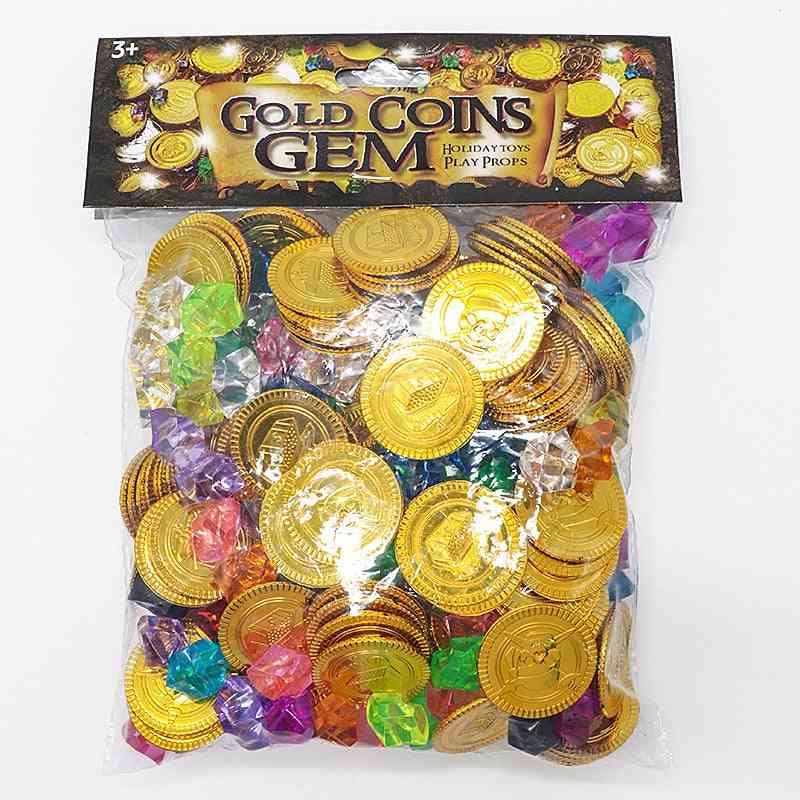 Children Pirate Gold Coin Gemstone Series- Activity Draw Props's Game Props Halloween Christmas