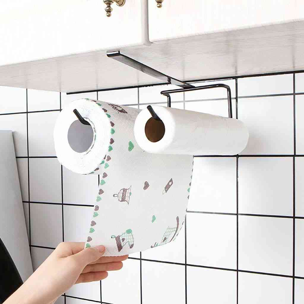 Towel Holder Shelf Under Cabinet Paper Roll Rack, Tissue Hanger, Bathroom Kitchen Accessories