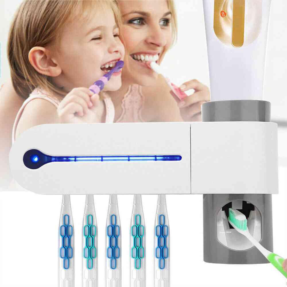 Light Ultraviolet Toothbrush Sterilizer And Toothpaste Holder - Automatic Squeezers Dispenser