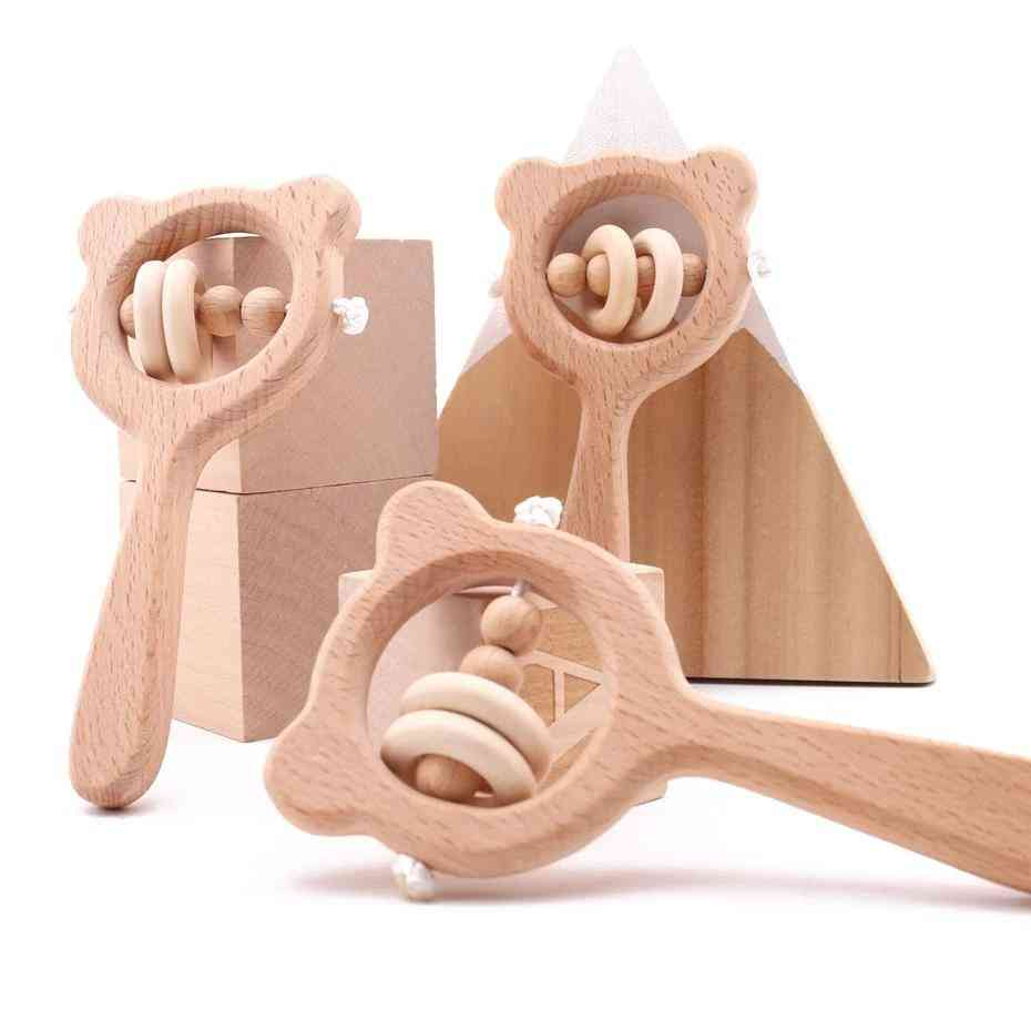 Wooden Rattle Beech And Bear Hand Teething -montessori Stroller