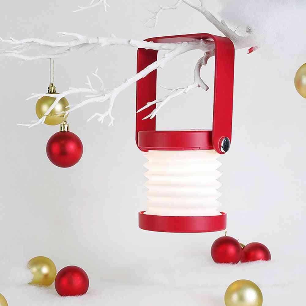 Usb Wooden Handle Portable Lantern Lamp - Telescopic Folding Table Bulb