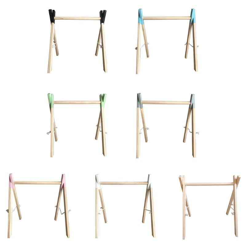 Nordic Simple Wooden Newborn Baby Fitness Rack, Kids Sensory Ring-pull Toy
