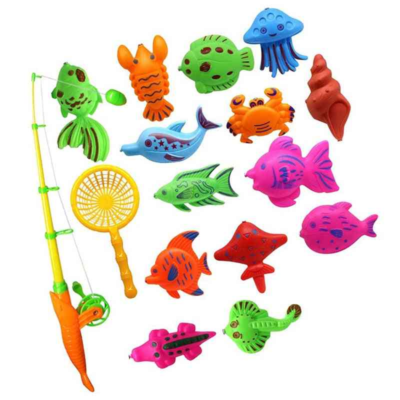 Magnetic Fish Model Set With Rod And Fishing Net For