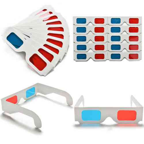 10pcs/lot Universal Anaglyph Cardboard Paper Cyan 3d Glasses For Movie Wholesale