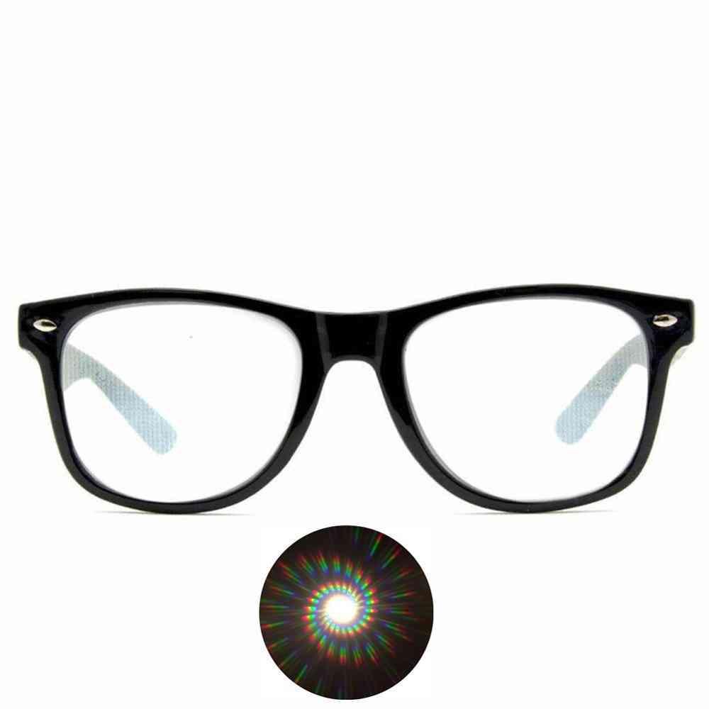 Spiral Diffraction 3d Prism Raves Glasses Plastic For Fireworks Display Laser Shows