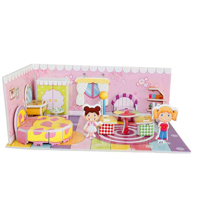 3d Puzzle Safe Foam Model Building Architecture Diy House, Diy Pink Lovely Girl's House Furniture Bed For Kids