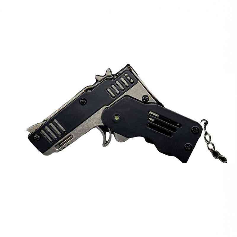Mini Folding Six Bursts Rubber Band Gun With Key Chain Toy For