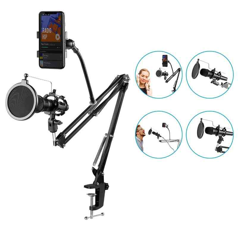 Microphone Boom Stand Holder- Suspension Scissor Windscreen Clip Table