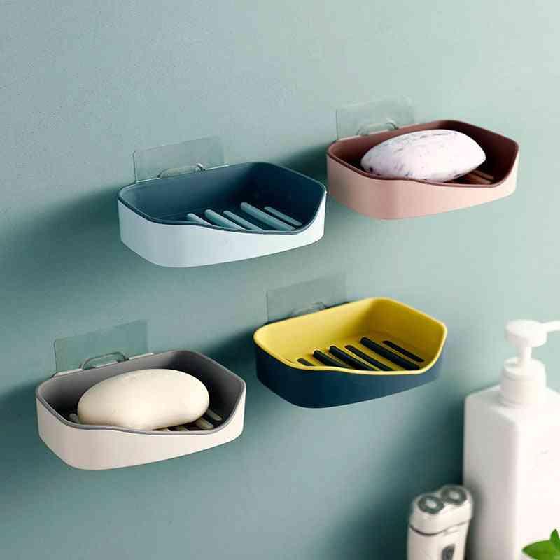 Wall Mounted Self Adhesive Dishes - Soap Sponge Storage Box Rack