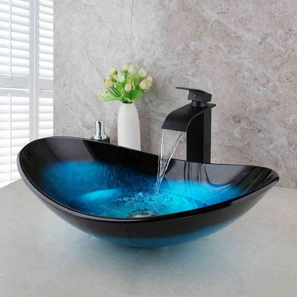 Hand Painted , Counter Top Sink Bowl With Orb Mixer Faucet Tap
