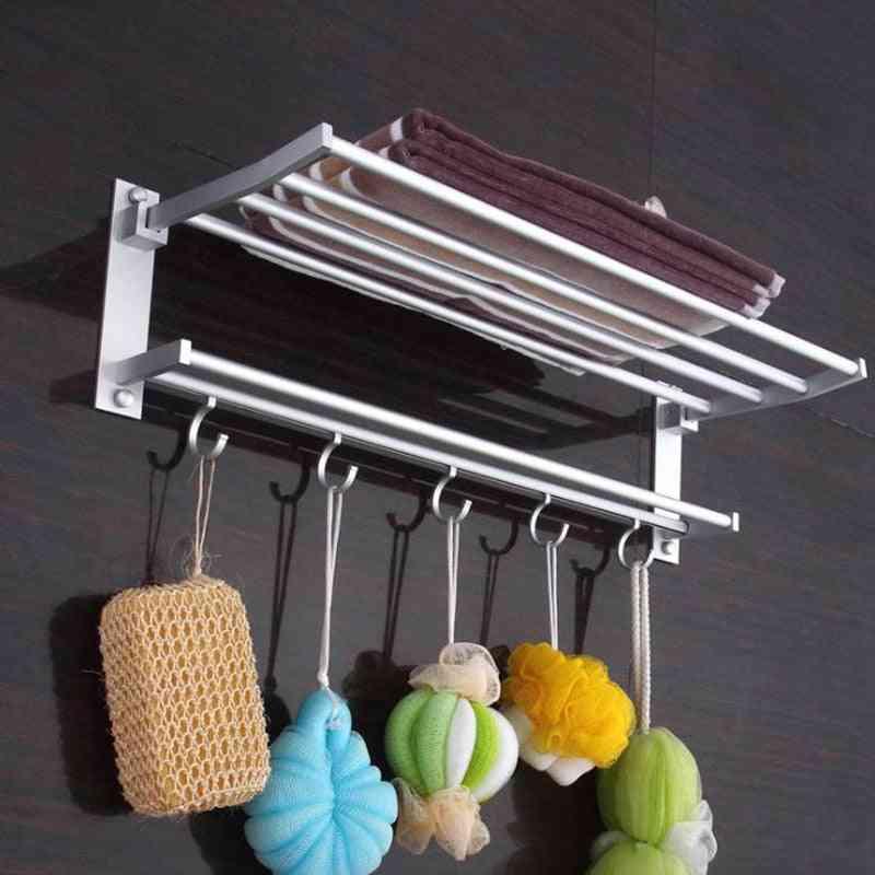 Foldable Aluminum Chrome Bathroom Towel Racks - Wall Mounted Shelf With Hooks