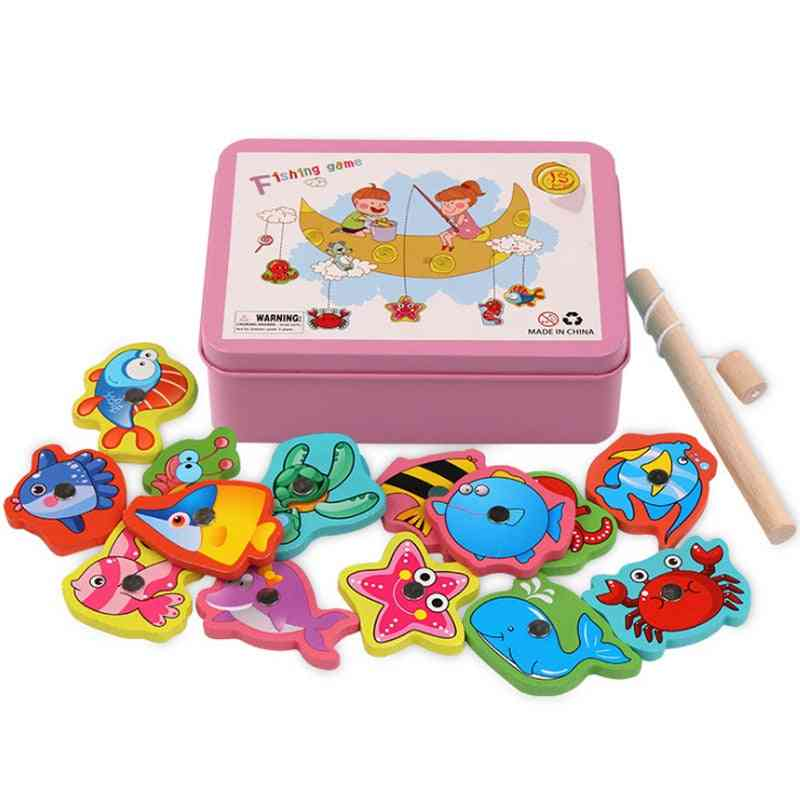 Wooden Magnetic Fishing Game, Educational For