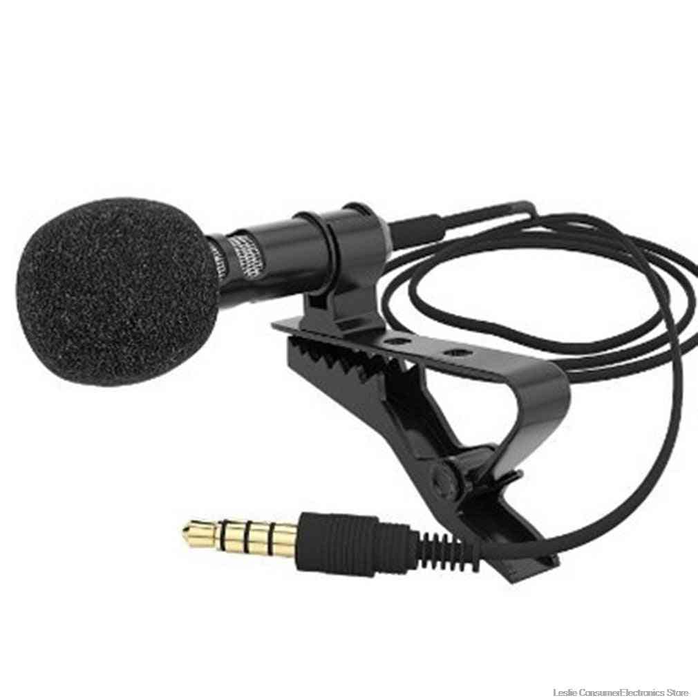 Mini Microphone Condenser Clip-on Lapel Lavalier Mic Wired For Phone Laptop For Phone Portable Mini Stereo, Hifi Sound Quality